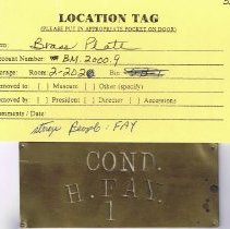 "Image of Brass plate with embossing: ""COND. / H. FAY. / 1""; 1-3/4"" x 4"";"