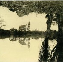 Image of Methodist Church, Graniteville pond reflection