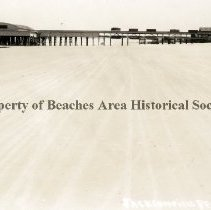 Image of Pier -  Jacksonville Beach, Florida ( or Pablo Beach) Jacksonville Beach Pier, between 2nd & 3rd Ave. N.   Prior to fishing pier being added. Beach in foreground and  Boardwalk on the right. Pier location : between 2nd & 3rd Ave. N., Jacksonville Beach, Florida.
