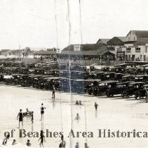 Image of Panoramic view of Beach, bathers,boardwalk, Oceanic Hotel, Pavilion , ect. in background. -  Pablo Beach  , Florida     Panoramic view of  beach , bathers and boardwalk.    Oceanic Hotel, Open air pavilion, Life Saving Station to left; boardwalk with Numally's Ocean View Bath House and Perkins House center.