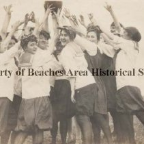Image of 1900's Girls ball Team -  Florida Beach , early 1900's  Girls ball team wearing  bloomers, stockings and sailor suit tops, volleyball or basketball