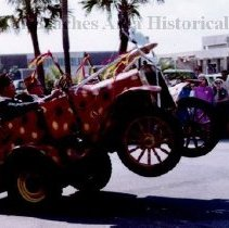 """Image of The """"Trick Car  Division """"   in Shrine Parade - Jacksonvile Beach, Florida   1968 """"The  Trick Car Division """"   (drivers unknown), in the Shrine Parade .  On 1st Street North , 224 Ocean Front is background."""