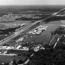 Image of Aerial view of Beaches Marina, Beach Blvd. - Jacksonville Beach, Florida ( possibly 1970's Aerial view of Beaches Marina, Beach Blv. and McCormick  Bridge.