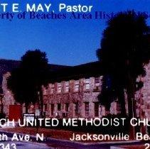 Image of Beach United Methodist Church on 7th Avenue North - Jacksonville Beach, Florida  Beach United Methodist Church, 325 7th Avenue, North. Calling card photograph church name and Robert E. May, Pastor imprinted.