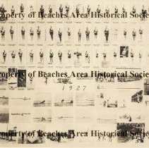 Image of Red Cross Life Saving Corps -      Red Cross Life Savings Corps  1927   Composite photograph of 94 photographs of the 1927 lifeguards, station, boats, towers, etc.   Jacksonville Beach, Florida