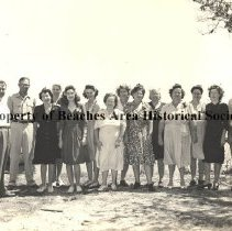 Image of Employees of the South Atlantic Crab Co. -  Jacksonville Beach, Fla. 1945  Employees of  the South Atlantic Crab Co.; 58 Ocean St..  Mr. John Shaw, Sr. at the left end, and Mrs  Helen Davis , 4th from left.