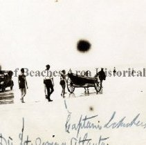 Image of Men, Cars and Horse and Buggy on Beach - Jacksonville Beach, Florida Men and cars and horse and buggy on beach.  J.L. Wilson File - St. Augustine