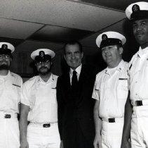 Image of Pres. Nixon - President Richard M. Nixon with Navy personnel. 1970s. Mayport, FL (?)
