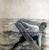 """Image of Gerry Adams - Jacksonville Beach, Florida - c.1910 Gerry Adams, standing in one of the """"Photo Stand Billboards"""" on the boardwalk."""