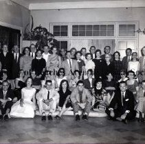 Image of Beach Bank employees Christmas Party - Jacksonville Beach, Florida - 1959 Christmas Party - employees of Beach Bank ( grid with some of the names with the picture). Identified are: Guy Craig, Jane Craig, Miriam Braddock, Treva Moore, Fred Allen, Walt Freeman, ID Sams, Lloyd Braddock