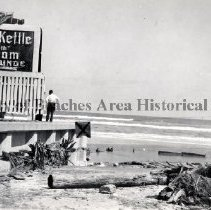 Image of Hurricane Damage  to Copper Kettle - Jacksonville Beach, Florida - 1947 Copper Kettle- Dining Room and Cocktail Lounge at 15th Ave. N. Hurricane Damage