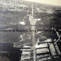 Image of Aerial view of Beach Blvd. showing Isle of Palms - Jacksonville Beach, Florida    1957 Aerial view of Beach Blvd. showing Isle of Palms and McCormick Bridge
