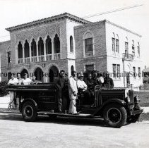 Image of Jacksonville Beach Fire Department in front of Jacksonville Beach City Hall - 1946 - Jacksonville Beach, Florida - 1946 Jacksonville Beach Fire Department in front of Jacksonville Beach City Hall, Pablo Avenue  Pablo Hotel in background - Mundy Drive (Beach Blvd.)