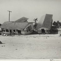 Image of Hurricane Dora 1964; Damage to South Ponte Vedra houses - Hurricane Dora; September 1964; different view of  extensive damage to house on beach, South Ponte Vedra shown in P-3026.
