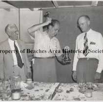 """Image of Beaches Rotary Club Guest Speaker - Beaches Rotary Club - one of the first guest speakers Left to right:  Dr. Jim Rupert, 1st President, guest Jimmy Edmundson """"Professor Backwards"""" and Ed Smith."""