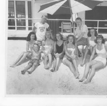 Image of On the Beach in Ponte Vedra - Ponte Vedra Beach, Florida Seven young women and three boys on the beach at the Ponte Vedra Club