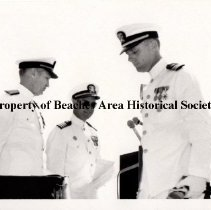 Image of Three Navy Officers in formal white uniforms - Three Navy Officers in formal white uniforms. 
