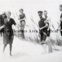 Image of Swimmers on the Sand Dunes - Atlantic Beach, Florida Six unidentified young men and women in swim suits on the sand dunes with sea oats.