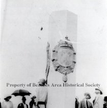 Image of Ribault Monument after unveiling - St. Johns' Bluff. -Mayport , Florida  Ribault Monument  just after  unveiling . Front view.