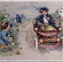 """Image of """"A Loving Thought"""" -  """"A Loving Thought"""" Valentine Postcard, Man offering hearts to woman in car. Post marked 1911"""