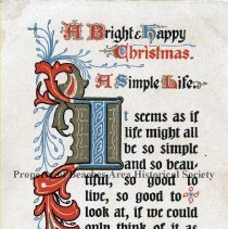 Image of A bright, happy Christmas - A bright, happy Christmas. Christmas postcard with poem by Phillips Brooks.
