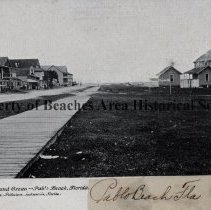 Image of Ocean Avenue & Green  - Pablo Beach, Florida - Ocean Avenue & Green  - Pablo Beach, Florida Anderson Cottage on left, Pablo Hotel on right