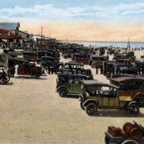 Image of Cars on the beach - Pablo Beach, Florida 1900's An every day line up of automobiles on the beach at Pablo Beach, Florida
