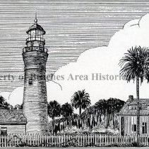 """Image of Mayport Florida Light - Photo of a print by Jeanne -Marie Parsons. """"Mayport , Florida Light"""" Mayport at mouth of St. John's River was the scene of first Protestant Colony in North America under Jean Ribault, French Huguenot, in 1562. It is now an auxiliary to the U.S. Naval Air Station, at Jacksonville."""
