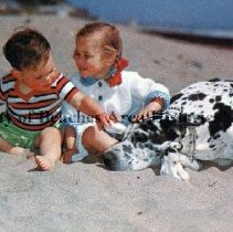 """Image of """"Just Pals"""" Greetings from Jacksonville Beach, Florida - Ocean-side beach scene; little girl, toddler brother sitting in sand petting huge black and white (Great Dane) dog lying beside them."""