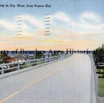 Image of Seagoing Highway to Key West, from Pigeon Key - Seagoing Highway to Key West, from Pigeon Key  The longest bridge in the world, built entirely over water, runs more than seven miles over open sea.  This engineering feat is truly a wonderful example of man's ingenuity and skill.