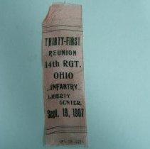 Image of Ribbon, Commemorative - 14th Ohio Regiment/14th O.V.I./Reunion