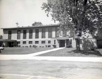 Image of Our Lady of Lourdes - Description:  8x10 black and white: Robert C. Lautman, photographer.  Side of new building, completed 1951.