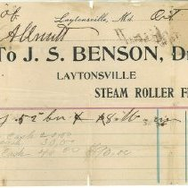Image of Receipt from J.S. Benson, Laytonsville - October 5, 1895