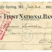 Image of First National Bank, Sandy Spring, check - June 2, 1925
