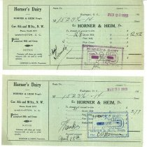 Image of Horner's Dairy receipts - 1911-1913