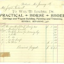 Image of William Lochte, horseshoer, receipts - January 1, 1896