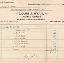 Image of Louis J. Ryan, licensed plumber, bill - April 21, 1947