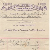 Image of Dr. Stonestreet bill for Mary Brooke - August 2, 1909