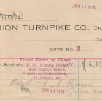 Image of Union Turnpike Co. statement - January 14, 1914