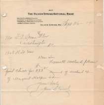 Image of Silver Spring National Bank letterhead - September 25, 1916