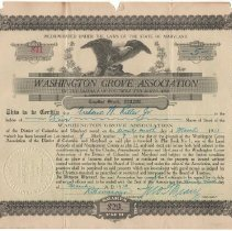 Image of Washington Grove Association stock certificate - March 29, 1913