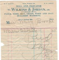 Image of Wilkins and Jordan receipt