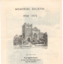 "Image of First Baptist Church, Rockville program: ""Memorial Bulletin"" - March 25, 1973"