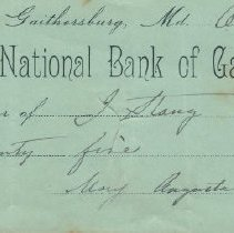 Image of First National Bank of Gaithersburg: check - October 14, 1891