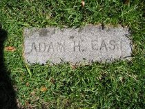 Image of Adam East's tombstone.