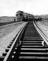 Image of Laying of welded rails in New Mexico by Santa Fe Railway