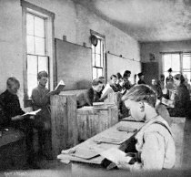Image of Corner of temporary public school room, Primero.