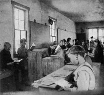 Image of Corner of temporary public school room, Primero, Colorado. Camp and Plant