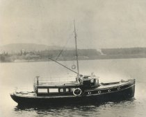 Image of William A. Lowman's yacht in the Guemes Channel