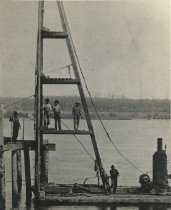 Image of W. A. Lowman Pile Driver,  SWEET MARIE at Coast Fish Dock 1900